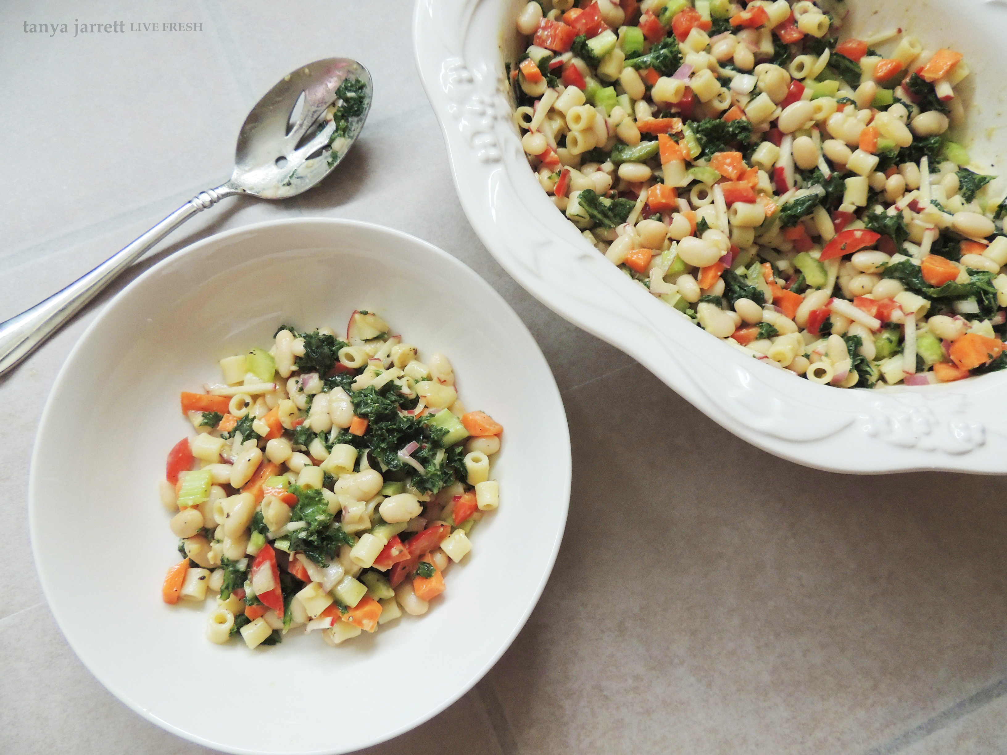 Meatless monday colorful raw kale white bean salad with an because adding more fruits vegetables legumes and whole grains into your diet has been proven to reduce chronic disease fruits and vegetables are loaded forumfinder Image collections